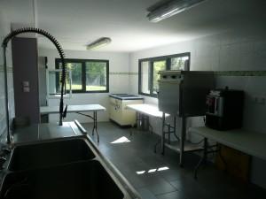 La cuisine avec un four de remise en température, un grand frigo et plonge et plan de travail